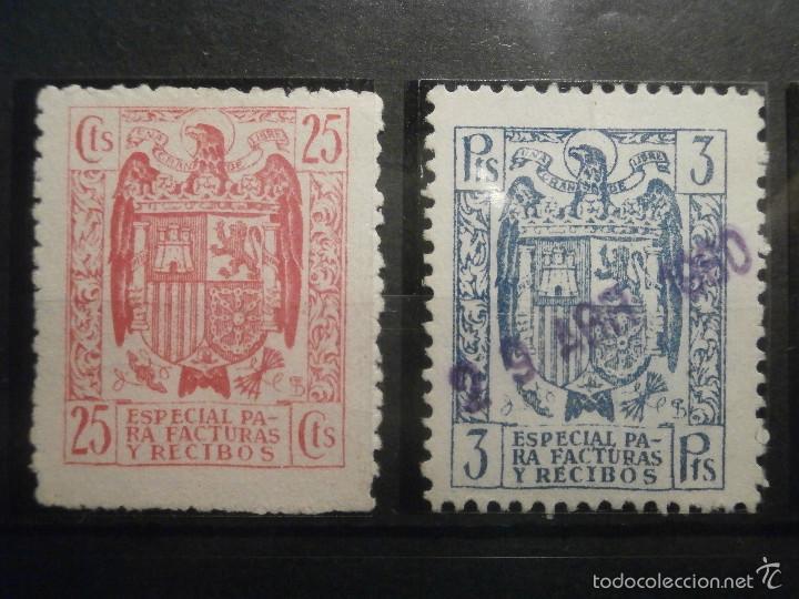 Sellos: SELLO - Póliza - Estado Español, Especial para Facturas y Recibos - LOTE - 25 cts, 3, 5, 10 y 25 pts - Foto 2 - 57748213