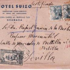 Sellos: CARTA MEMBRETE HOTEL SUIZO CIRCULADA 1947 CON VIÑETA DE LA MUTUALIDAD DE CORREOS. Lote 58177419
