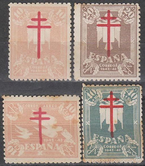 EDIFIL 957/60, PRO TUBERCULOSOS 1942, NUEVOS CON SEÑAL DE CHARNELA EN SERIE COMPLETA (Sellos - España - Estado Español - De 1.936 a 1.949 - Nuevos)