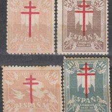 Sellos: EDIFIL 957/60, PRO TUBERCULOSOS 1942, NUEVOS CON SEÑAL DE CHARNELA EN SERIE COMPLETA. Lote 58281863