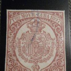 Sellos: SELLO FISCAL - TIMBRE MOVIL CUBA - 1893 - 5 CÉNTIMOS DE PESO - CASTAÑO - SIN DENTAR -. Lote 58294919