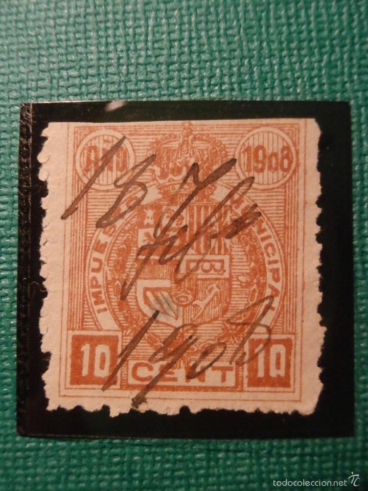 SELLO - FISCAL - IMPUESTO MUNICIPAL - MADRID - 10 CÉNTIMOS - TIMBRE - AÑO 1908 (Sellos - España - Estado Español - De 1.936 a 1.949 - Usados)