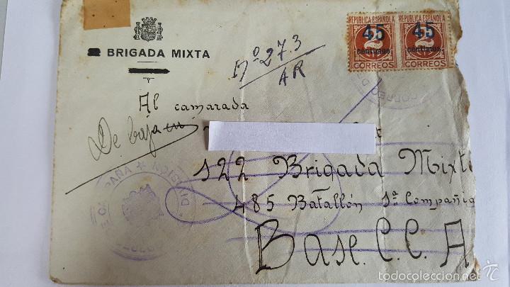 ANTIGUO SOBRE CORREO CAMPAÑA DE 212 BRIGADA MIXTA -BATALLON -Nº 528-C.C.Nº-19 - (Sellos - España - Estado Español - De 1.936 a 1.949 - Usados)