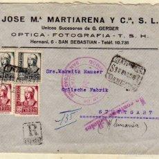 Sellos: SOBRE CON PUBLICIDAD JOSE Mª MARTIARENA Y CIA. OPTICA FOTOGRAFIA. ENVIADO A ALEMANIA. . Lote 59123425