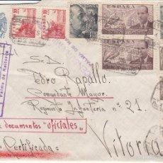 Sellos: CARTA: PALMA DE MALLORCA - VITORIA / 10-11-39 / AVION - CERTIFICADA - CENSURA MILITAR. Lote 60665883