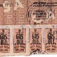 Sellos: 1946 TIRA DE 20 SELLOS VALE 5 LITROS GAS OIL CAMPSA SELLO RESTRICCION ALICANTE. Lote 60879122