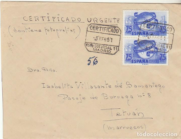 SELLO : 1064 (PAREJA). CARTA . MADRID A TETUAN 1951. (Sellos - España - Estado Español - De 1.936 a 1.949 - Cartas)