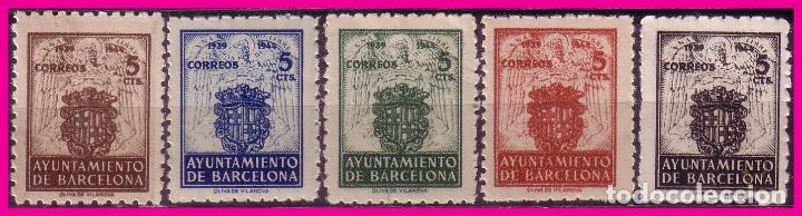 BARCELONA 1944 ESCUDO NACIONAL Y DE LA CIUDAD, EDIFIL Nº 55 A 59 * * (Sellos - España - Estado Español - De 1.936 a 1.949 - Nuevos)