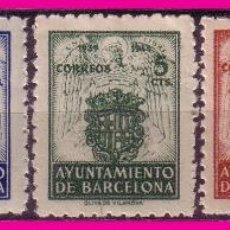 Sellos: BARCELONA 1944 ESCUDO NACIONAL Y DE LA CIUDAD, EDIFIL Nº 55 A 59 * *. Lote 63007556