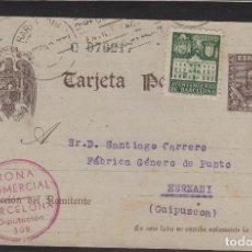 Sellos: ENTERO POSTAL 86 FBC. DE BARCELONA 1942 A HERNANI (GUIPUZCOA) CON SOBRETASA RMTE RONA COMERCIAL . Lote 64386895