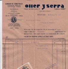 Sellos: FACTURA DE OLLER Y SERRA - FISCAL DE SERVICIOS PROVINCIALES DE ABASTECIMIENTOS BARCELONA--EXCELENTE. Lote 68991085