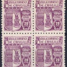 Sellos: 074. BLOQUE DE 4 SELLOS 20 CTS MILENARIO CASTILLA 1944, VARIEDAD, EDIFIL NUM 980 **. Lote 72302247