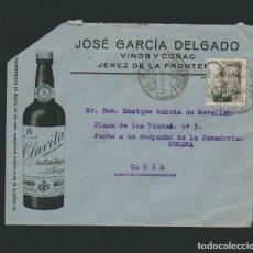 Sellos: SOBRE CON PUBLICIDAD DE VINOS Y COÑAC JOSÉ GARCÍA DELGADO.JEREZ DE LA FRONTERA.. Lote 74612179