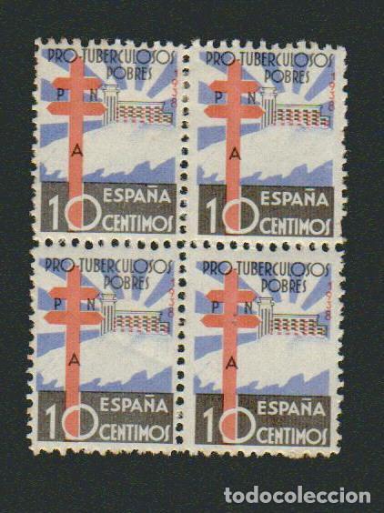 1938.PRO TUBERCULOSOS.BLOQUE DE 4.NUEVO CON SEÑAL DE FIJASELLOS.EDIFIL: 866 (Sellos - España - Estado Español - De 1.936 a 1.949 - Nuevos)
