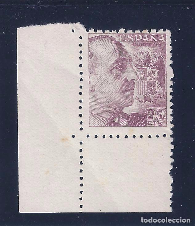 EDIFIL 923 GENERAL FRANCO (VARIEDAD... 25 CTS INCLINADO Y TALADRO DESPLAZADO EN ESQUINA). MNH ** (Sellos - España - Estado Español - De 1.936 a 1.949 - Nuevos)