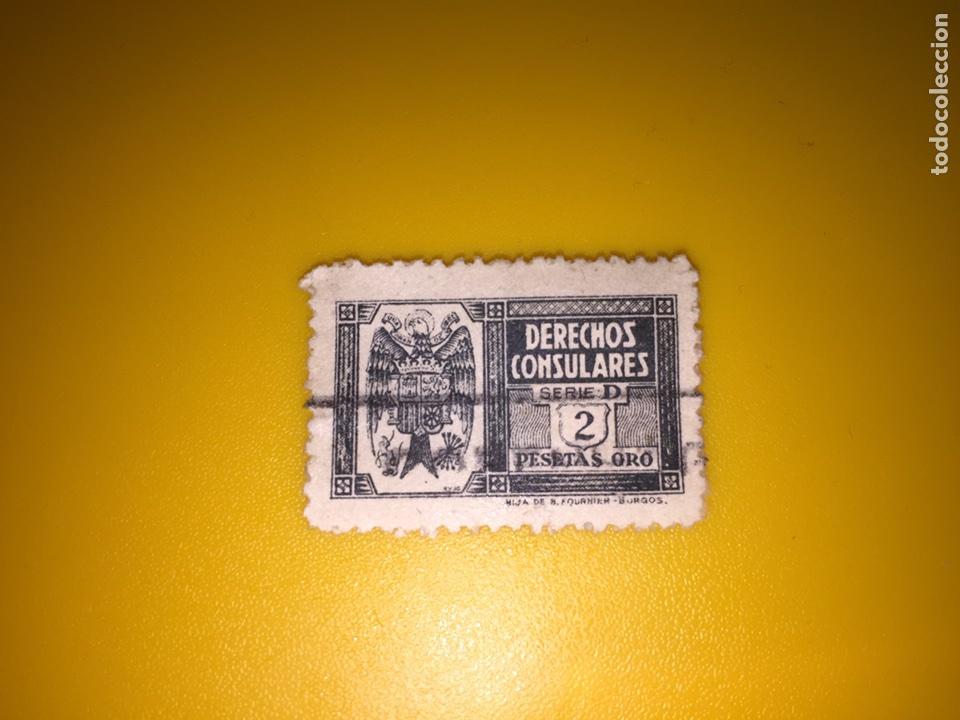 SELLO - DERECHOS CONSULARES - SERIE D - 2 PTAS ORO / FOURNIER, BURGOS (Sellos - España - Estado Español - De 1.936 a 1.949 - Usados)