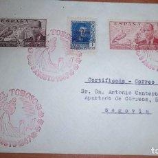 Sellos: DON QUIJOTE CERVANTES RUTA DEL QUIJOTE, EL TOBOSO (TOLEDO) A SEGOVIA 1947 MATASELLOS. Lote 75936919