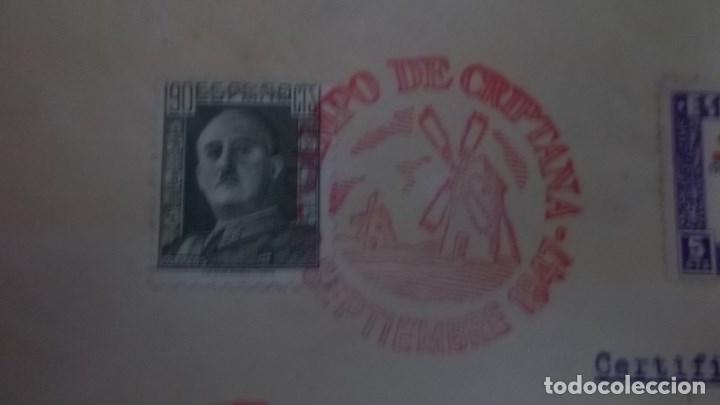 Sellos: CARTA CERVANTES: RUTA DEL QUIJOTE, CAMPO DE CRIPTANA (CIUDAD REAL) 1947 A SEGOVIA . MATASELLOS - Foto 2 - 75937311