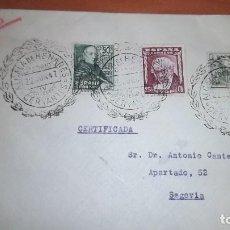 Sellos: CARTA DON QUIJOTE CERVANTES IV CENTENARIO, ALCALA HENARES MADRID A SEGOVIA 1947. MATASELLOS. Lote 75937483