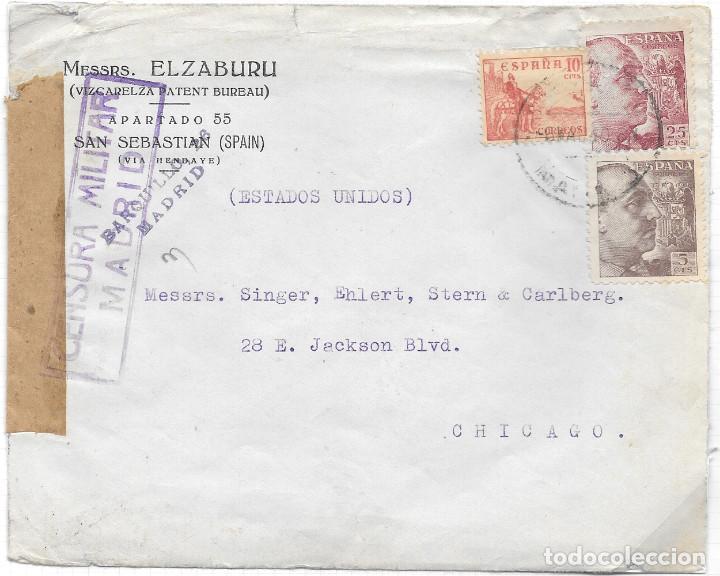 EDIFIL 917 + 919 + 923. SOBRE CIRCULADO DE MADRID A CHICAGO EEUU. 6-MAR-1940. (Sellos - España - Estado Español - De 1.936 a 1.949 - Cartas)