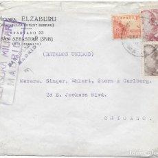Sellos: EDIFIL 917 + 919 + 923. SOBRE CIRCULADO DE MADRID A CHICAGO EEUU. 6-MAR-1940. . Lote 79544865