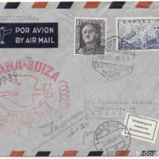 Sellos: CORREO AEREO. PRIMER VUELO A SUIZA. 1948. VIÑETA INCONNU MATASELLADA. Lote 79549517