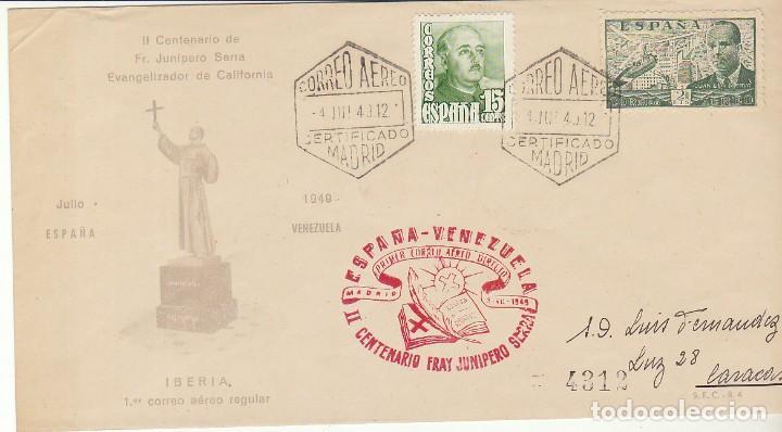 C.A.: PRIMER VUELO ESPAÑA-VENEZUELA.1949. (Sellos - España - Estado Español - De 1.936 a 1.949 - Cartas)