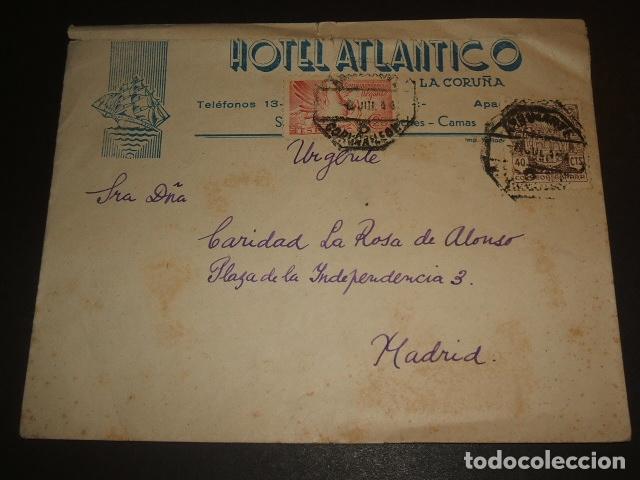 CARTA CIRCULADA DE LA CORUÑA A MADRID 1944 2 MATASELLOS AMBULANTE CORUÑA LEON HOTEL ATLANTICO CORUÑA (Sellos - España - Estado Español - De 1.936 a 1.949 - Cartas)