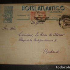 Sellos: CARTA CIRCULADA DE LA CORUÑA A MADRID 1944 2 MATASELLOS AMBULANTE CORUÑA LEON HOTEL ATLANTICO CORUÑA. Lote 81017796