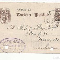 Sellos: TARJETA CIRCULADA 1941 DE MURCIA A ZARAGOZA CON FECHADOR LLEGADA FRANCO FRANCO FRANCO. Lote 81893284