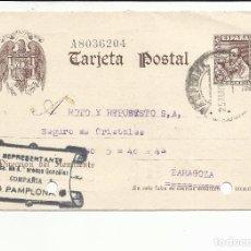 Sellos: TARJETA ENTERO POSTAL CIRCULADA 1941 DE PAMPLONA NAVARRA A ZARAGOZA. Lote 81910552