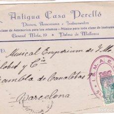 Sellos: F15-4-TARJETA POSTAL CASA PERELLÓ PALMA MALLORCA. BARCELONA. RARA MARCA. TRIPLE MATASELLOS.1950. Lote 82365580