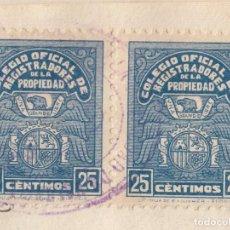 Sellos: 1940 VALENCIA 2 SELLOS 25 CTS COLEGIO OFICIAL REGISTRADORES PROPIEDAD 1ª SERIE EN ESCRITURA. Lote 82495536