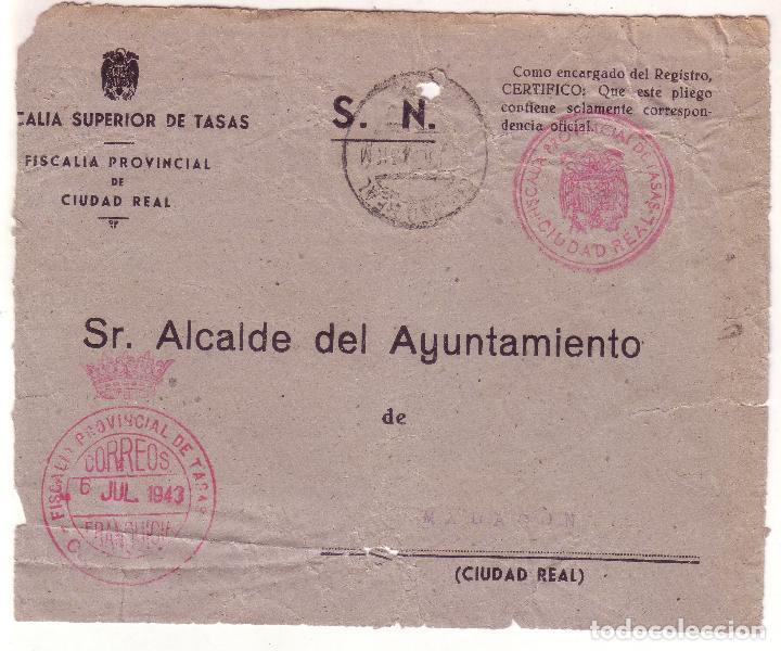 F16-21-FRONTAL FRANQUICIA FISCALÍA TASAS CIUDAD REAL -MALAGÓN 1943. REUTILIZADO RECIBO (Sellos - España - Estado Español - De 1.936 a 1.949 - Cartas)