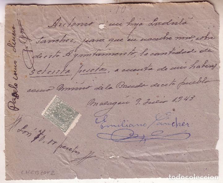 Sellos: F16-21-Frontal Franquicia Fiscalía Tasas Ciudad Real -Malagón 1943. Reutilizado Recibo - Foto 2 - 83262404