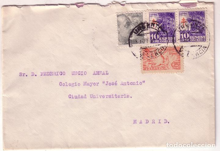 F16-79- CARTA URGENTE VALENCIA MADRID 1954 CON PAREJA TUBERCULOSOS 1947. VER DORSO (Sellos - España - Estado Español - De 1.936 a 1.949 - Cartas)