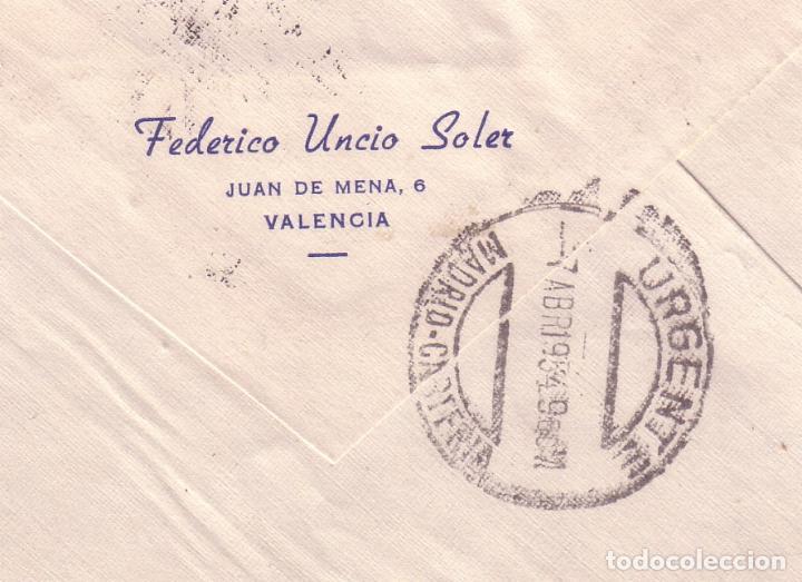 Sellos: F16-79- Carta Urgente VALENCIA MADRID 1954 con pareja TUBERCULOSOS 1947. Ver dorso - Foto 2 - 83427524