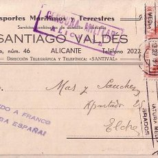 Selos: F6-83 TARJETA POSTAL ALICANTE- ELCHE 1939. ETIQUETA/ VIÑETA TRANSPORTE VALDÉS. VAPORES. Lote 83474072
