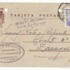 Sellos: FRANCO TARJETA POSTAL CIRCULADA 1941 DE LEON A ZARAGOZA. Lote 83953396
