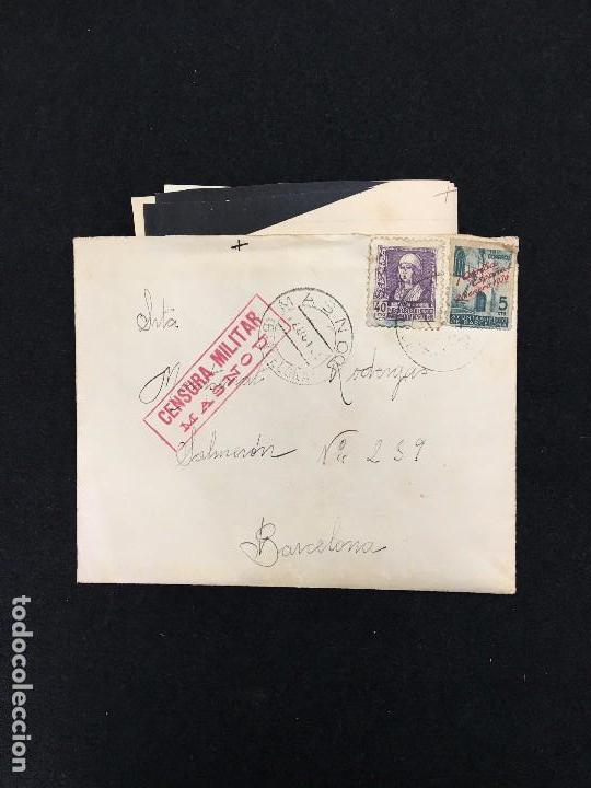CARTA CON CORRESPONDENCIA. SELLADA. CENSURA MILITAR - MASNOU. A BARCELONA. 1939. (Sellos - España - Estado Español - De 1.936 a 1.949 - Cartas)