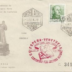 Sellos: MATASELLO COMMEMORATIVO PRIMER CORREO AEREO DIRECTO ESPAÑA VENEZUELA FRAY JUNIPERRO SERRA. Lote 85210444