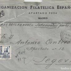 Sellos: CARTA VALORES DECLARADOS MADRID A SEGOVIA. Lote 85212740