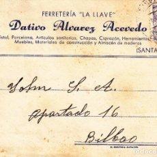 Sellos: TARJETA POSTAL: POTES 18-5-1945 FERRETERIA LA LLAVE - BILBAO. Lote 86309960