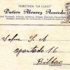 Sellos: TARJETA POSTAL: POTES 21-4-1945 FERRETERIA LA LLAVE - BILBAO. Lote 86310064