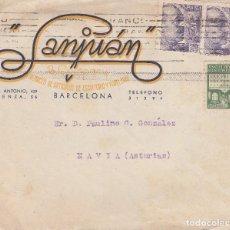 Sellos: SOBRE: 1942 BARCELONA - SANJUAN ALMACEN ARTICULOS DE ESCRITORIO Y PAPELERIA - NAVIA ( ASTURIAS). Lote 86310240