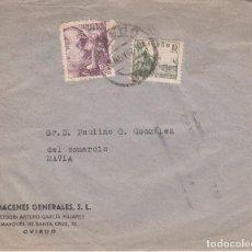 Sellos: SOBRE: 1942 OVIEDO - ALMACENES GENERALES - NAVIA. Lote 86310320