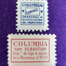 2 VIÑETAS SIN USAR. COLUMBIA SAN SEBASTIAN Y CONTROL. FOURNIER. VIÑETA-SELLO-SELLOS