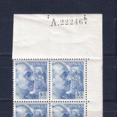 Sellos: EDIFIL 1052 GENERAL FRANCO 1949-1953 (BLOQUE DE 4) (VARIEDAD...FUELLE DIAGONAL). LUJO. MNH **. Lote 87263096