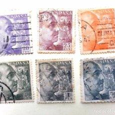 Sellos: LOTE DE 6 SELLOS: GENERAL FRANCO - FRANCO DE PERFIL - USADOS. Lote 88972260
