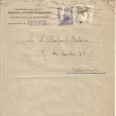 Sellos: INST. NACIONAL PREVISIÓN. AFILIACIÓN. VALENCIA. AUXILIO A LAS VICTIMAS EL CID 5CTS. 3 NOVIEMBRE 1949. Lote 89005676